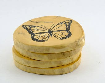 Driftwood Coaster set/Beach/Butterfly/Rustic/Home Decor/Outdoor/Cottage/Home Decor
