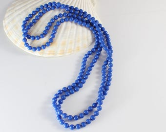 1960s Long Small Round Smooth Popper Beads Dark Blue Beaded Plastic Bead Necklace