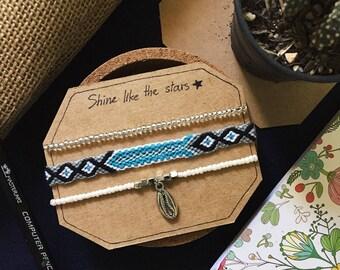 Cowrie Shell Friendship Bracelet Set, Beaded bracelet, Woven bracelet, Beach bracelet, Boho bracelet, Friendship bracelet, Handmade bracelet