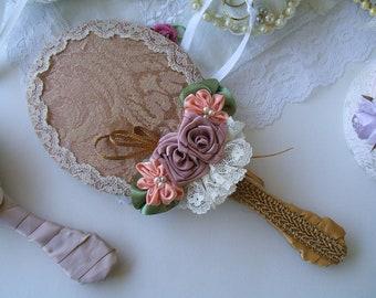 Brides Mirror, Handheld, Victorian, Handmade,Mother's Gift,Vanity Mirror, Ladies Mirror, Shabby Chic, Lace Mirror,Womans Gift Idea