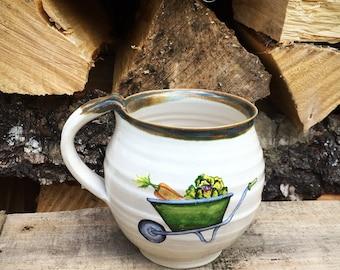 Gardening pottery mug , cup stoneware ceramics