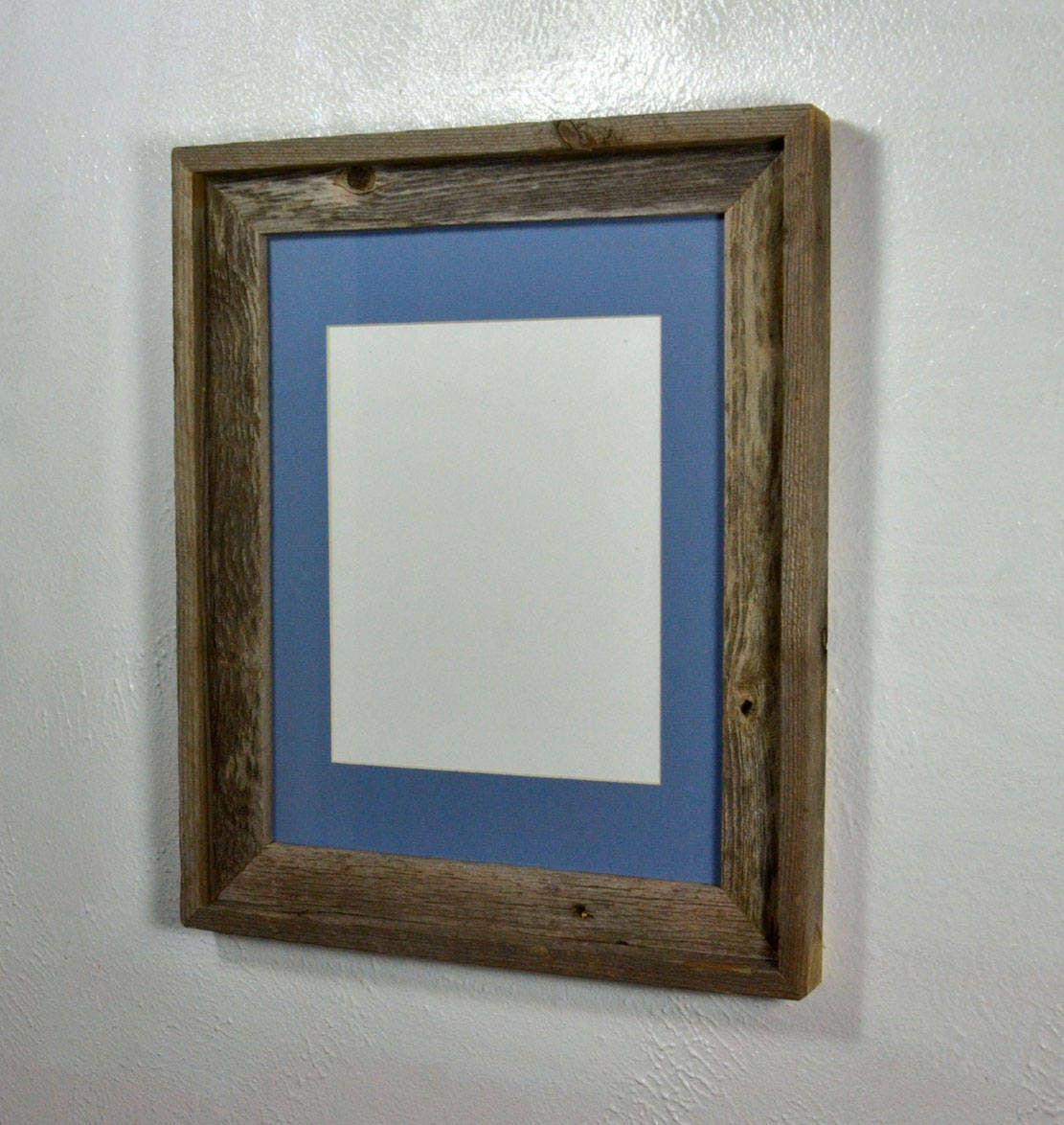 8x10 Light Blue Mat In Upcycled Wood Picture Frame 19 Mat