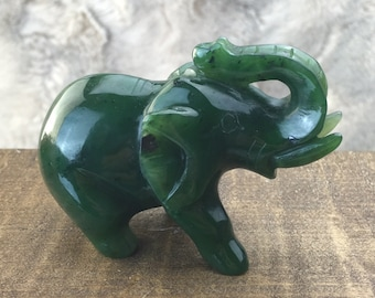 Canadian Jade Elephant Carving - Multiple Sizes - Sold Individually
