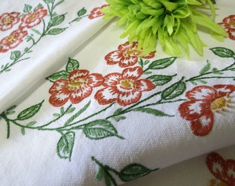 Small Vintage Tablecloth Hand Embroidered, Rust Colored Flowers, 43 x 37, Luncheon or Breakfast Cloth, Vintage Linens