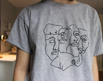 handmade embroidered shirt five faces print