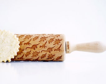 Rolling Pin engraved DINOSAURS - Embossing rolling pin, laser engraved rolling pin Birthday  gift funny