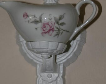 Shabby Vintage Puritan Light Fixture and Vintage China Pink Roses Creamer Wall Hanging