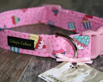 """Cupcake Dog Collar, Dog Collar, Dog Collars, Girl Dog Collar, Boy Dog Collar, Modern Dog Collar, Pink Dog Collar, """"Sweet Treats"""""""