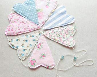 Cottage Chic Blue and Pink Heart Bunting. Heart garland. Room decor.