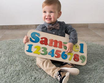 Personalized baby gifts etsy custom name puzzle personalized baby gifts wooden puzzle baby name gifts baby negle Image collections
