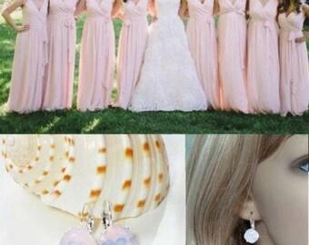 Handmade Swarovski Rose Water Opal Crystal Fancy Square Radiant Cut Leverback Dangle Earrings, Bridal, Wedding (Sparkle-2626-RWO)