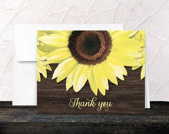 Sunflower Thank You Cards Wood - Yellow Floral on Brown Wood - Printed Cards