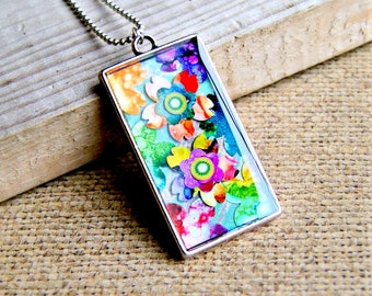 colorful resin pendant, colorful jewelry, floral pendant, bohochic, gift for her, gift for women