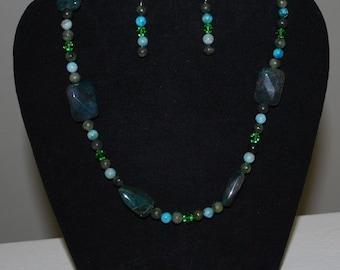 Green Blue Mazu Jewelry Pendant Necklace Earrings Set Gemstones