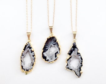 Agate Geode Druzy Necklace - Gold Dipped Agate Slice