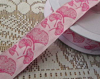 Wholesale Lot  6-1/2 Yards Ginkgo Leaf Reversible Trim Jacquard Ribbon 1 Inch Wide Pink INT-S