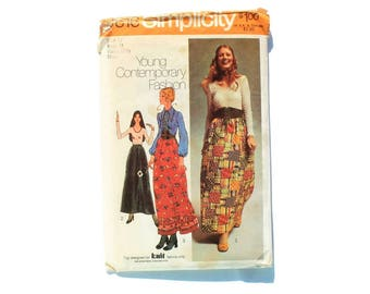1970s Vintage Sewing Pattern - Simplicity 9616 - Hippie Blouse Maxi Skirt
