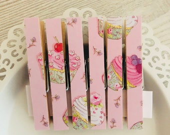 Pink Cupcake Fridge Magnet Set - Magnetic Pegs Clothespins - Shabby Chic Fridge Magnets