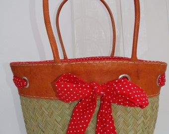 Scarf and leather bag