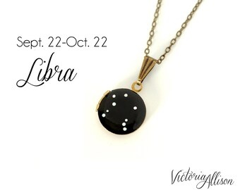 Libra Zodiac Constellation Necklace on Vintage Tiny Locket - Hand Painted - September October Birthday, Scales