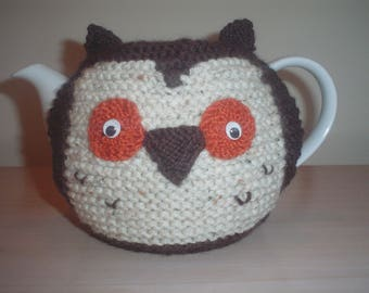 Hand knitted Owl teapot cozy, tea cosy