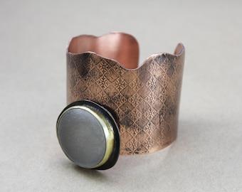 copper cuff, copper and brass cuff,  copper bracelet, copper jewelry