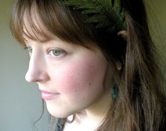 Peacock Feather Headband- Beautifully Unique Silk Fabric Embroidered Feather- Peridot Green with Sage Embroidery