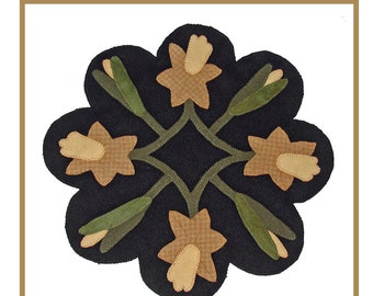 PDF pattern for a 16 inch wool table mat - penny rug: Spring Daffodils
