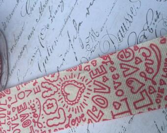 Linen Printed Love Graffiti Ribbon 1.5 inch wide