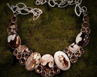 Beautiful peanut jasper statement necklace 925 sterling overlay