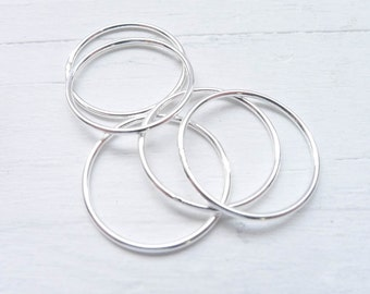 Size 9 Dainty Thin Rings Sterling Silver Wispy Stacking Rings Skinny Silver Wire Ring 1mm (RR6150929)