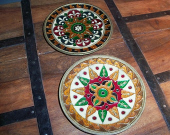 Set of 2 India Cloisonne Brass Handmade Hanging Medallions
