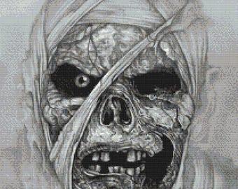 The Mummy  -  high quality emailed PDF cross stitch chart / pattern, original art by Darrel Bevan