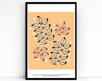 Peach pen and ink leaves - 8x10 inch nature home decor wall art print - Fall decor - Autumn decorations - housewarming gift - seasonal arte