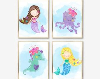 Mermaid Nursery Decor. Mermaid Nursery Prints. Mermaid Nursery Art. Mermaid Art. Mermaid Prints. Mermaid Bathroom Decor, Nursery Printables