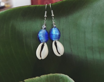 Sparkly blue glass bead and shell earrings