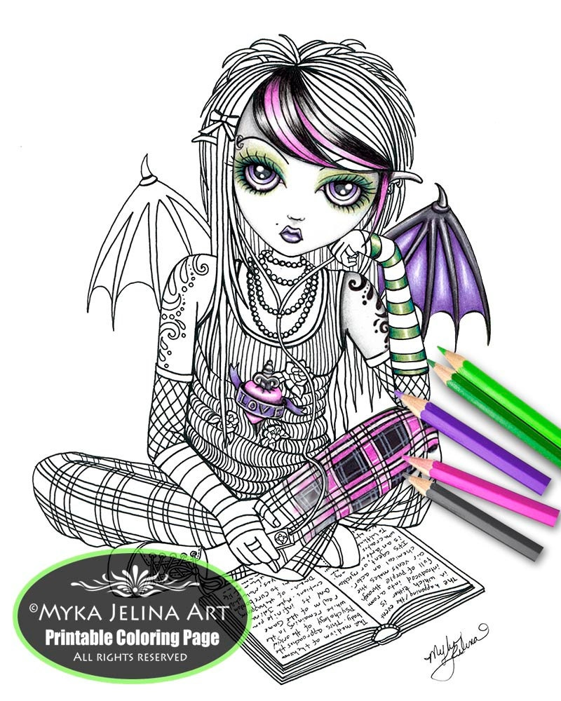 Ally Fairy Digital Download Coloring Page Myka Jelina Art Punky Emo ...