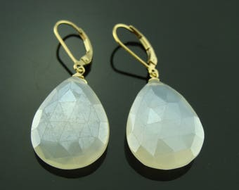 Large White Pearl Chalcedony 14K Gold Filled Leverback Earrings