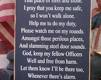 Corrections Officer Prayer Law Enforcement Wood Sign Cop Deputy LE Sheriff Police Blue Line