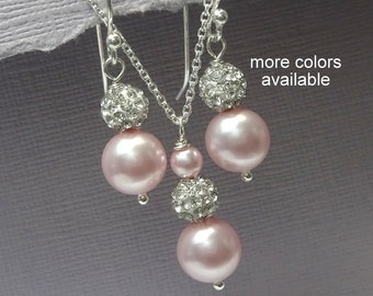 Light Pink Pearl Jewelry Set, Bluch Pink Pearl Wedding Jewelry Set, Bridesmaid Gift, Maid of Honor Gift, Pink  Bridal Party Jewelry Set