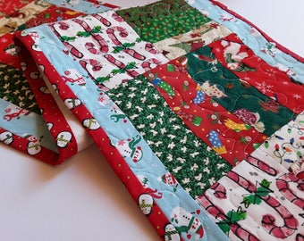 Fun Table Runner, Christmas, Quilted Table Linen, Original Design, Handmade