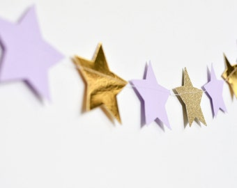 Purple and Gold Twinkle Twinkle Little Star, Paper Garland, Birthday Party Decor, Nursery Decor