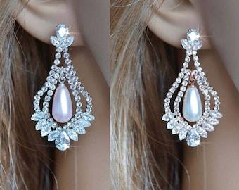 White or Rose Gold Vintage Inspired Fancy Cut Cubic Zirconia CZ & Pearl Teardrop Dangle Bridal Earrings, Bridal, Wedding (Pearl-844)