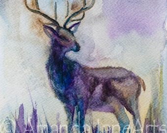 Stag, deer, original,picture, watercolour, print, abstract art, painting, gift