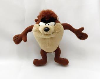 "Warner Bros. Tazmanian Devil Plush Looney Tunes Taz 1994 Stuffed Doll Toy 7"" Vintage"