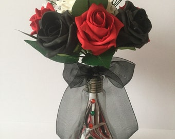 Flowers in a vase, faux roses, floral display, roses in a vase, summer roses, summer flowers, faux flowers, floral gift, rose display,