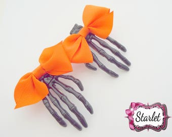 Halloween Hair Clip, 1 Skeleton Claw, Orange Bow Skeleton Clip, Girl's Hair Accessories, Hair Bow
