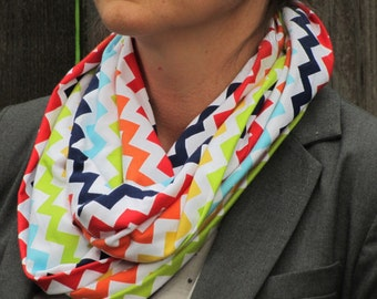 Rainbow scarf, Chevron infinity scarf, soft jersey knit cotton scarf, rainbow zig zag multicolor circle scarf loop scarf gift for girl
