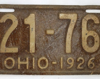 Vintage 1926 License Plate Ohio State Hot Rod Muscle Car Historical Garage 26