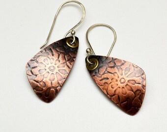 Copper Earrings Rolling Mill Texture